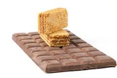 Barre de chocolat foncée de biscuit de gaufrette Photographie stock libre de droits