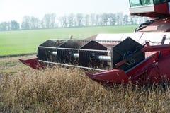Barre de coupeur d'une moissonneuse de cartel moissonnant un champ de soja image libre de droits