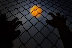 Barre de fer de s'élever de mains dans la nuit foncée avec le fond de pleine lune photographie stock libre de droits
