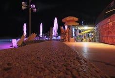 Barre de plage à Tel Aviv par nuit l'israel Photos libres de droits
