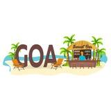 Barre de plage Goa, Inde Voyage Paume, boisson, été, chaise longue, tropicale Photo stock