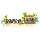Barre de plage La république dominicaine Voyage Paume, boisson, été, chaise longue, tropicale Images stock