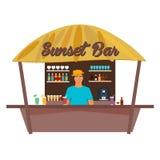 Barre de plage Travell Paume, boisson, été, chaise longue, tropicale Photographie stock