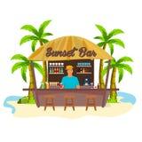 Barre de plage Travell Paume, boisson, été, chaise longue, tropicale Photos libres de droits
