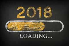 Barre de progrès montrant le chargement de 2018 Chargement de nouvelle année illustration stock