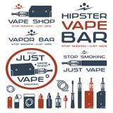 Barre de vapeur et logo de boutique de Vape Image libre de droits