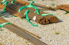 Barre dei coni retinici dell'acciaio di rinforzo per la costruzione di edifici in Norvegia Fotografie Stock