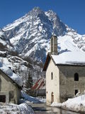 Barre des Ecrins Mountain and French Mountain village Stock Photography