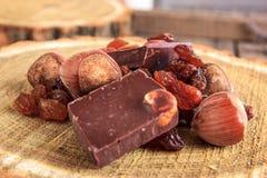 Barre di cioccolato con i dadi e l'uva passa sul ceppo di legno Fotografie Stock Libere da Diritti