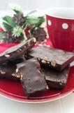 Barre di cioccolato di natale con caffè Fotografia Stock