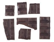 Barre di cioccolato su priorità bassa bianca Immagine Stock Libera da Diritti