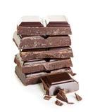 Barre di cioccolato su un fondo bianco Fotografia Stock Libera da Diritti