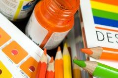 Barre di colore di Cmyk sullo stampato su Immagini Stock