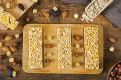 Barre di Granola, barre di muesli, barre della proteina Fotografie Stock