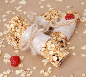 Barre di granola organiche con i frutti matti ed asciutti Fotografia Stock