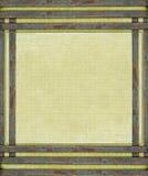 Barre di metallo arrugginite su tela di canapa invecchiata Immagini Stock Libere da Diritti