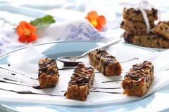 Barre di Muesli del cioccolato Fotografia Stock