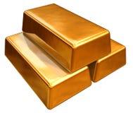 barre di oro 3d Fotografie Stock Libere da Diritti