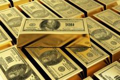Barre di oro con il bollo del dollaro Fotografie Stock