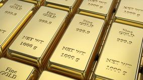 barre di oro del gruppo del primo piano dell'illustrazione 3D macro Immagine Stock