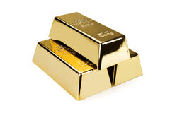 Barre di oro e concetto finanziario Fotografie Stock Libere da Diritti