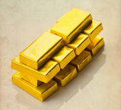 Barre di oro su fondo di carta invecchiato Fotografia Stock