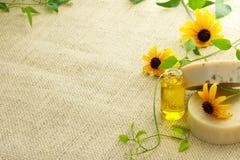 Barre di sapone e di olio essenziale immagine stock