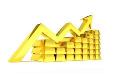 Barre dorate del grafico del mercato di oro Fotografia Stock Libera da Diritti