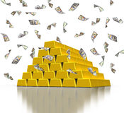Barre dorate del lingotto e banconote in dollari di caduta Fotografia Stock