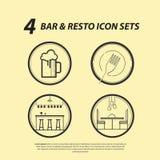 Barre 4 et ensembles d'icône de Resto illustration stock