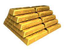 barre l'or empilé Images libres de droits