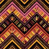 Barre le modèle sans couture tribal lumineux avec le zigzag Photographie stock