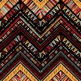 Barre le modèle sans couture tribal lumineux avec le zigzag Image libre de droits