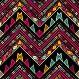 Barre le modèle sans couture tribal lumineux avec le zigzag Photo libre de droits