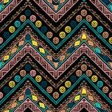 Barre le modèle sans couture tribal lumineux avec le zigzag Images libres de droits