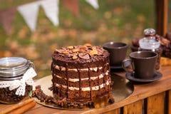 Barre ou support de chocolat en parc d'automne Image stock