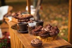 Barre ou support de chocolat en parc d'automne Images stock