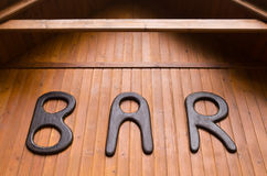 Barre, signe en bois Photographie stock libre de droits