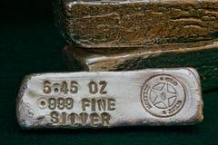 Barre timbrate del lingotto d'argento Immagine Stock Libera da Diritti