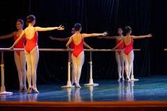 Barre training- annual Beijing Dance Academy grading test outstanding children`s dance teaching achievement exhibition Jiangxi stock photography