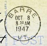 Barre Vermont Postmark 1947 obrazy royalty free