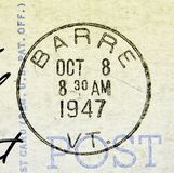Barre Vermont Postmark 1947. A 1947 postcard cancellation from Barre, Vermont. This image could illustrate travel, tourism, philately or scrapbooking royalty free stock images