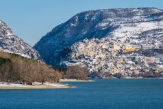 Panoramic view in Barrea during winter season. Province of L`Aquila, Abruzzo, Italy. royalty free stock images