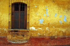 Barred window, Antigua, Guatemala. Royalty Free Stock Image
