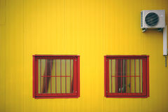 Barred window with fan Royalty Free Stock Images