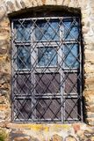 Barred window in Jihlava ramparts of the 17th century Stock Photography