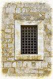 Barred Window in Old Acre. Barred window of traditional stoned house in old Acre. Window in the old city of Akko in Israel. Vintage style toned picture Royalty Free Stock Photo