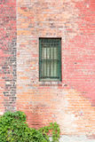 Barred window in brick wall with twining plants. Barred window in red brick wall with green twining plants in the lower left corner Royalty Free Stock Photo