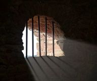 Barred window at Wertheim Castle Royalty Free Stock Photography