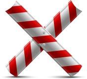 Barreira de proteção de aço da estrada dois por uma letra X Fotos de Stock Royalty Free